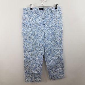 Brooks Brothers Pants Capri 8 Blue Floral Crop 346